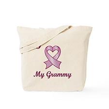 I love my Grammy - Breast Cancer Heart Ribbon Tote