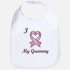 I love my Grammy - Breast Cancer Heart Ribbon Bib