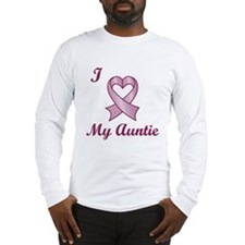 I love my Auntie - Breast Cancer Heart Ribbon Long