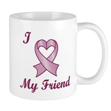 I Love My Friend - Breast Cancer Heart Ribbon Mug