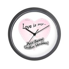 Love is my Petit Basset Griffon Vendeen Wall Clock