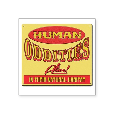"""Human Oddities with faded b Square Sticker 3"""" x 3"""""""