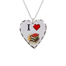 Books Necklace Heart Charm