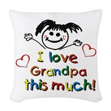 Grandpa This Much Woven Throw Pillow