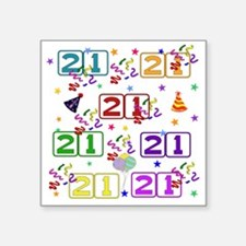 "21st Rainbow Birthday Square Sticker 3"" x 3"""