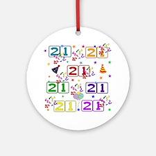 21st Rainbow Birthday Round Ornament