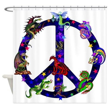 Dragon Peace Sign Shower Curtain