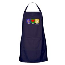 Peace Love Golden Retriever Apron (dark)