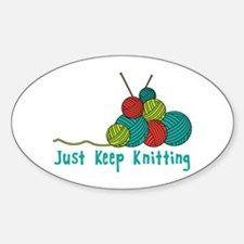 Just Keep Knitting Decal
