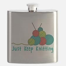 Just Keep Knitting Flask