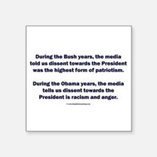"Mainstream Media on Dissent Square Sticker 3"" x 3"""