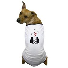 cats in love with birds and red hearts Dog T-Shirt