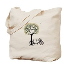 Heart tree with birds and tandem bicycle Tote Bag