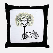 Heart tree with birds and tandem bicycle Throw Pil