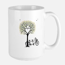 Heart tree with birds and tandem bicycle Mugs
