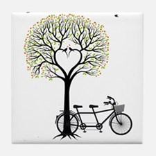 Heart tree with birds and tandem bicycle Tile Coas