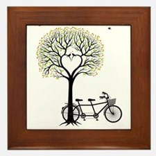 Heart tree with birds and tandem bicycle Framed Ti