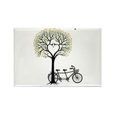 Heart tree with birds and tandem bicycle Magnets
