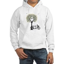 Heart tree with birds and tandem bicycle Hoodie