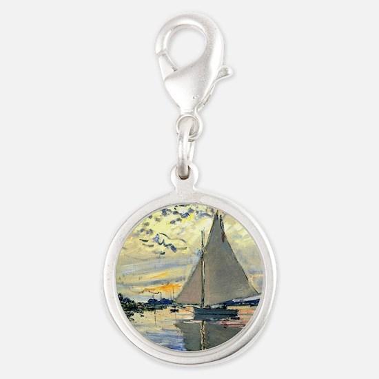 Monet - Sailboat at Le Petit-G Silver Round Charm