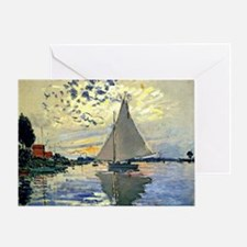 Monet - Sailboat at Le Petit-Gennevi Greeting Card