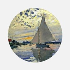 Monet - Sailboat at Le Petit-Gennev Round Ornament