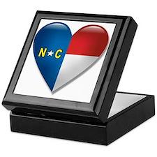 Love North Carolina Flag Heart Keepsake Box