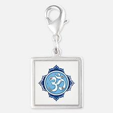 Lotus Om Silver Square Charm
