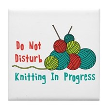 Knitting in Progress Tile Coaster
