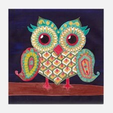 Midnight Eastern Owl Tile Coaster