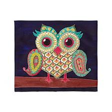 Midnight Eastern Owl Throw Blanket