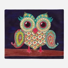 Midnight Eastern Owl Throw Blanket