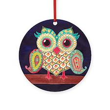 Midnight Eastern Owl Round Ornament
