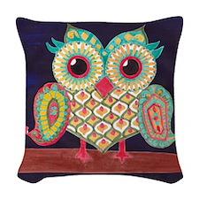 Midnight Eastern Owl Woven Throw Pillow