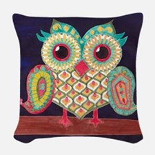 Midnight Eastern Owl Woven Throw Pillow