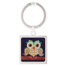 Midnight Eastern Owl Square Keychain