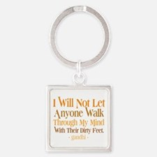 Through My Mind With Dirty Feet Square Keychain