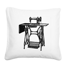 Vintage Sewing Machine Square Canvas Pillow