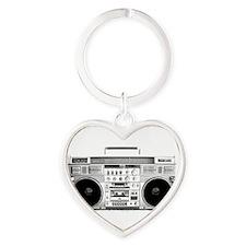 Vintage Boom Box  Heart Keychain