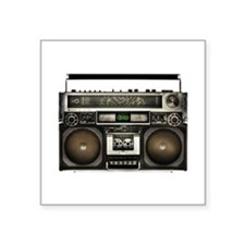 "Vintage Boom Box Square Sticker 3"" x 3"""