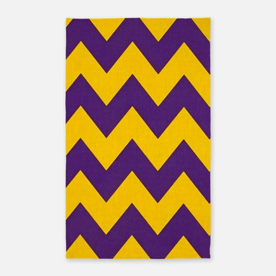 Purple and Gold che... 3'x5' Area Rug