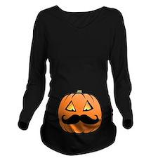 Mustache Pumpkin Long Sleeve Maternity T-Shirt