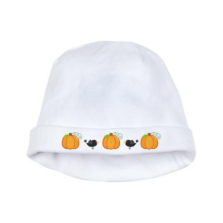 Halloween Pumpkin and Crow baby hat