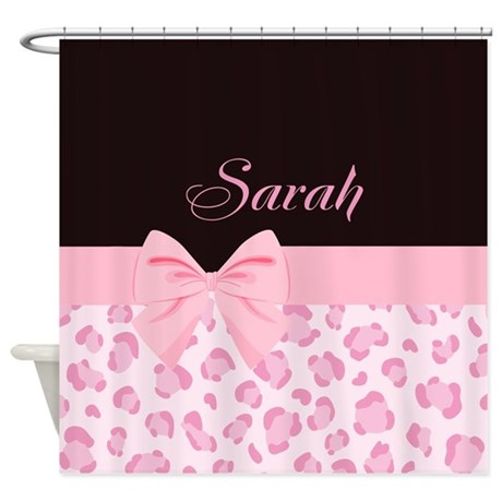 girly pink with bow customized shower curtain
