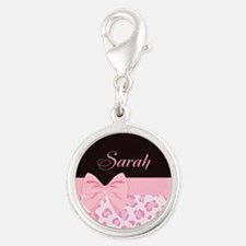 Girly Pink with Bow - Customized Silver Round Char