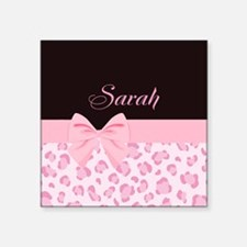 """Girly Pink with Bow - Customized Square Sticker 3"""""""