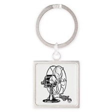 Vintage Fan Square Keychain