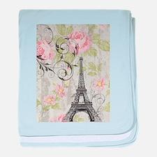 floral paris eiffel tower roses baby blanket