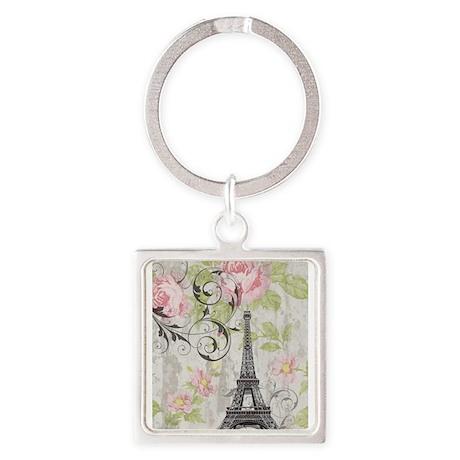 floral paris eiffel tower roses Keychains