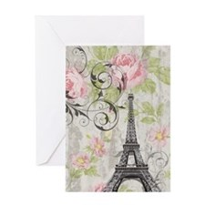 floral paris eiffel tower roses Greeting Cards